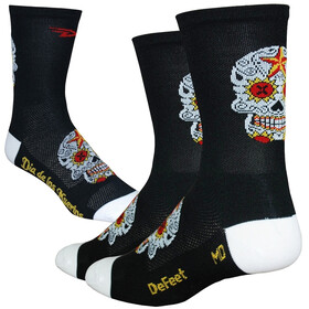 "DeFeet Aireator 5"" Single Cuff Socken sugar skull/black/white"